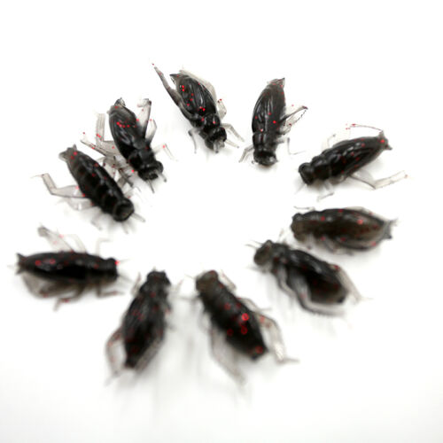 10pcs//Bag Cricket Fishing Lures Black Soft Insect Artificial Bait JH