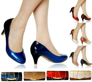 Women-Ladies-Party-Evening-Two-Tone-Patent-Low-Kitten-Heel-Court-Shoes-Size-6672