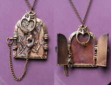 Vintage Antique Door & Owl w/tiny lock that opens door! Necklace Pendant Locket