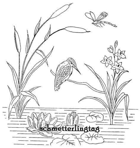 1885 Victorian Splasher Embroidery Iron-on Transfer Design Washstand Pond Bird