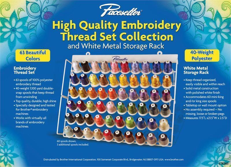 Brother Etks63 Pacesetter 63 Spool Embroidery Thread Set Rack Ebay