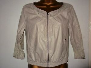 OFF-WHITE-IVORY-PU-amp-LACE-SPARKLY-JACKET-T-23-C-ZIP-FRONT-amp-POCKETS-LOVELY