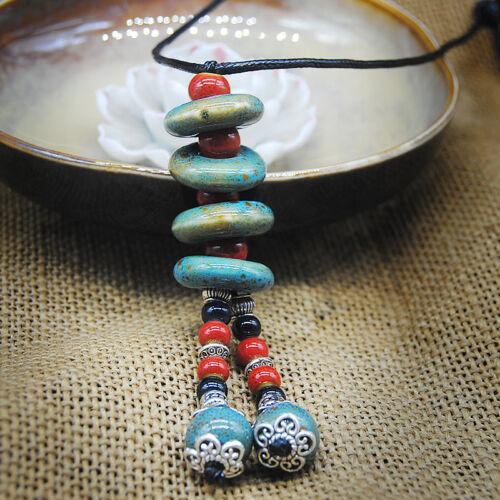 NEW Ethnic style Handmade ceramic bead Sweater chain pendant necklace N262