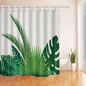 Waterproof-Polyester-Fabric-Shower-Curtain-Bathroom-180-180cm-Green-palm-leaves