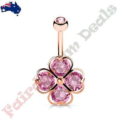 316L Surgical Steel Clear Gem Belly Ring with 4 Clear Gem Hearts Shamrock