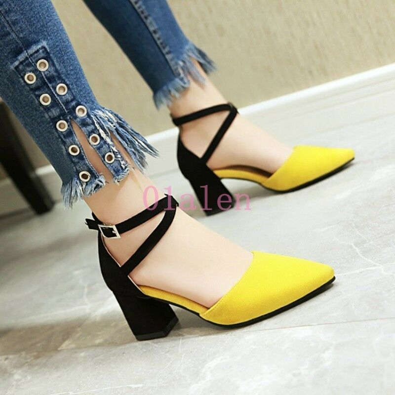 New Womens Mid Block Heel Ankle Strap Pointy Toe Pump Spring Buckle shoes 4-10.5