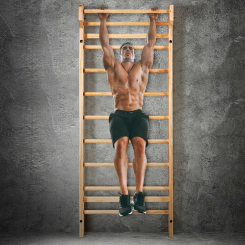 Stall Bars Wooden Fitness Ladder Gymnastic Climbing Rack  Home Gym Workout