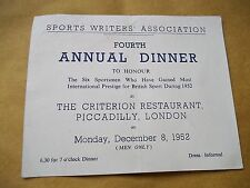 Sports Writers Association 4th Annual Dinner Ticket 8/12/1952- Criterion Rest.