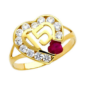 10K Oro Gold Sweet Quinceañera 15 Años Heart Ring Con 12 Clear Czs 1 Ruby CZ