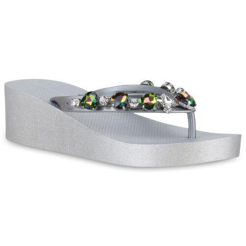Damen Sandaletten Keilabsatz Zehentrenner Strass Wedges 830474 Trendy Neu