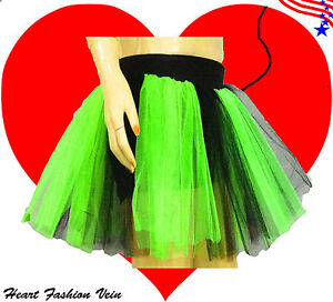 Image is loading Plus-Size-Neon-Green-Black-Tutu-Skirt-adult-  sc 1 st  eBay & Plus Size Neon Green Black Tutu Skirt adult fairy Costume Halloween ...