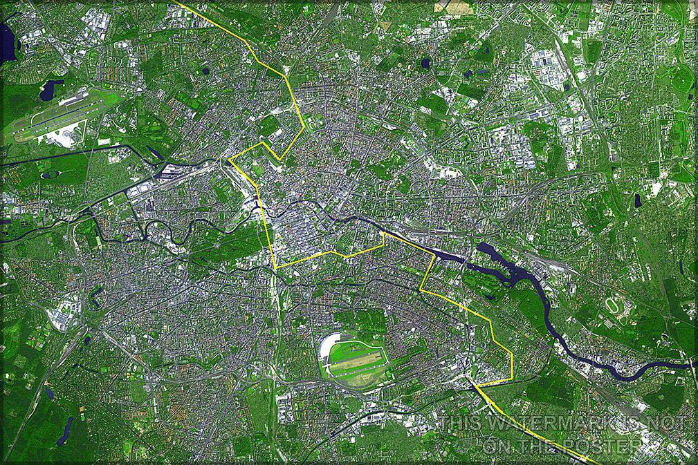 Póster,Muchos Tamaños;Berlin Satélite Imagen de Berlin,Alemania The Gelb Línea