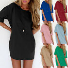 Zanzea S-4XL Women Short Sleeve Loose Casual Solid Short Mini Dress Long Tops