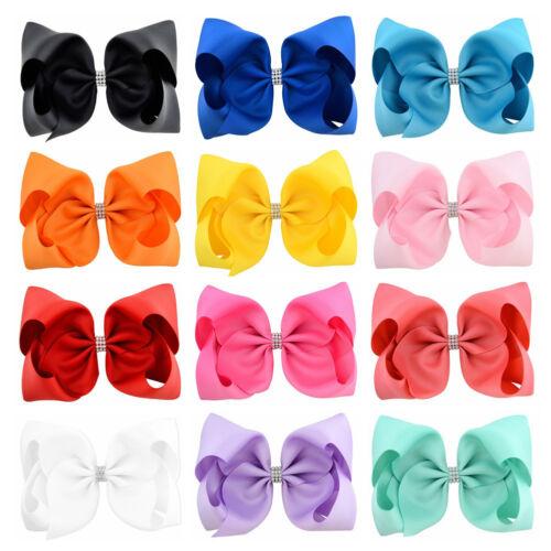"12pcs Girl Kids 8/"" Big Hair Bow Clips Boutique Rhinestone Hairpins Accessories"