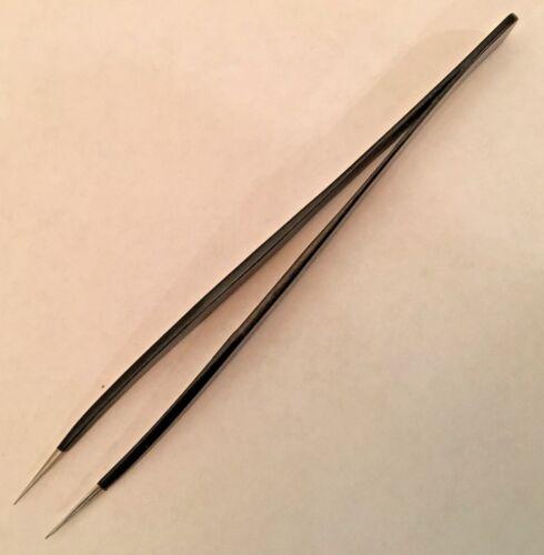 "3C sa Pattern TWEEZERS 4 1//2/"" Straight sharp Ultra FINE pointe tips epoxy coated"
