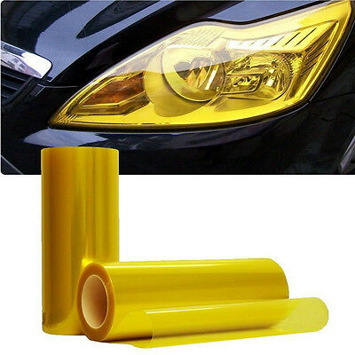 Luxury Car Headlight Fog Light Taillight Yellow Vinyl Film Wrap Sticker