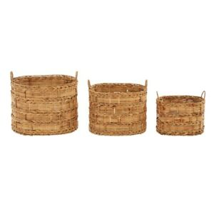 Image Is Loading Water Hyacinth Oval Baskets Set Of 3 Loop