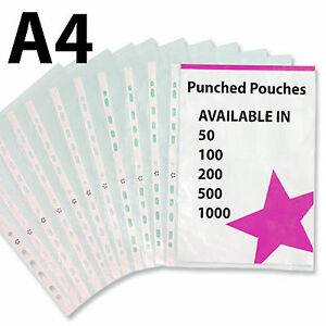 A4-Clear-CHEAP-QUALITY-Plastic-Punched-Pockets-Filing-Document-Wallets-Sleeves