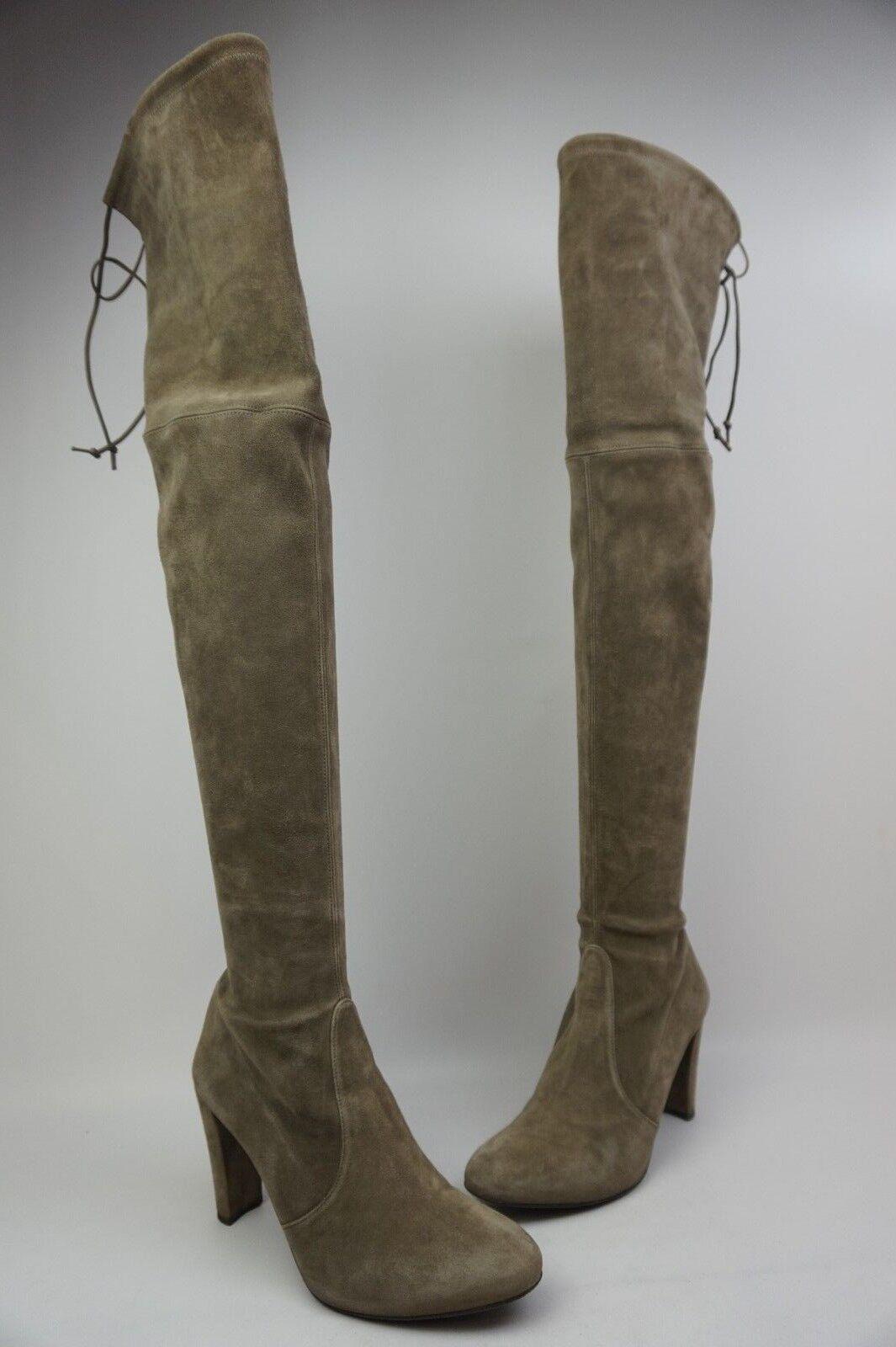 Stuart Weitzman Highland Over the Knee Praline Grey Suede Boots Size 9 M.