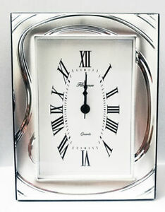 Alarm-Clock-Table-Beltrami-9-X-13-IN-Silver-And-Mahogany-Made-IN-Italy