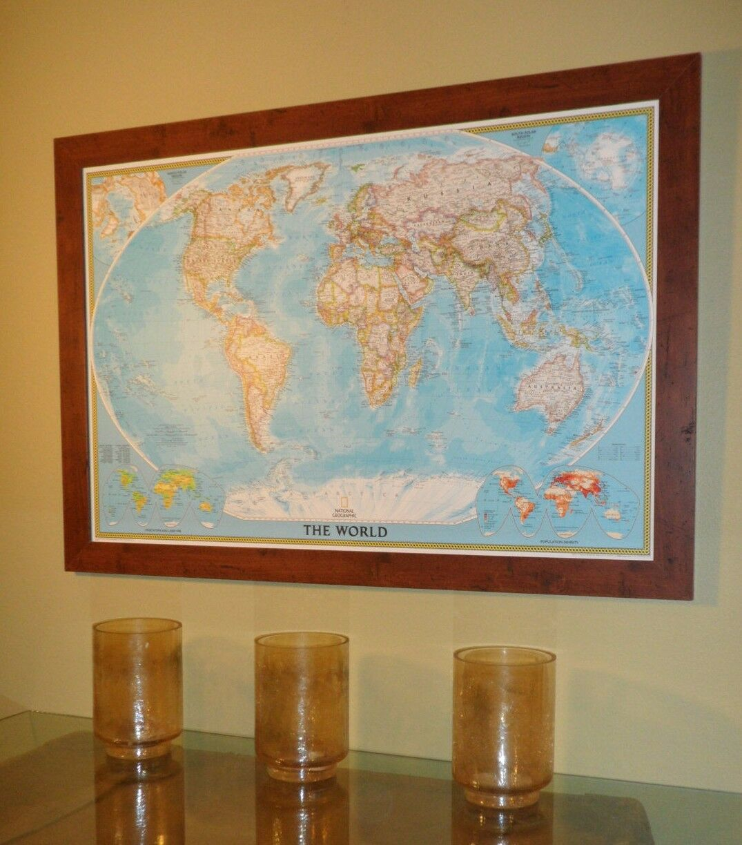 Classic Farbe Pin Frame Walnut Rustic A On Shown 24x36 Map ...