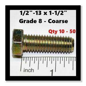 5//16-24 Thread Size Fully Threaded Grade 8 Steel Zinc Yellow-Chromate Plated Hex Head Screw 1-1//2 Long