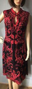 Roman pour femme style oriental Crayon Robe Taille UK 10 Noir et Rouge Immaculée