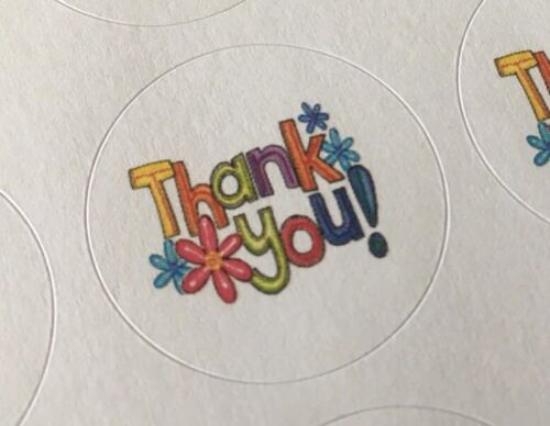 ENVELOPE SEALS LABELS STICKERS Celebrations Business Thank You with Flowers !!