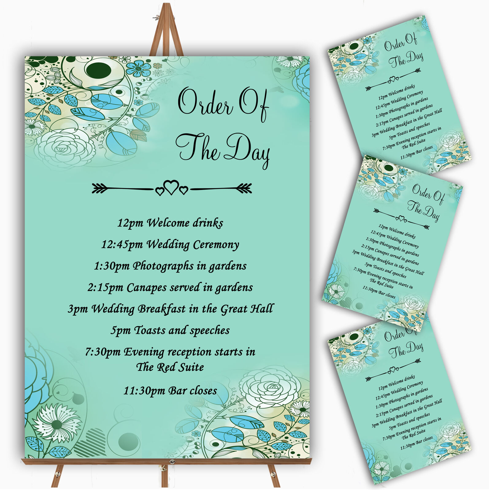 Aqua Turquoise Personalised Wedding Order Of The Day Cards & Signs