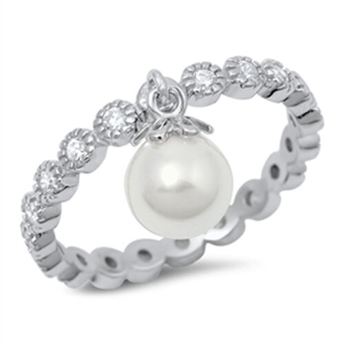 Sterling Silver Hanging Dangling Simulated Pearl Eternity CZ Ring Sizes 4-10