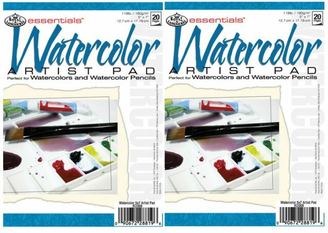 """2 x WATERCOLOUR PAINTING & PENCIL DRAWING 190gsm PAPER 5"""" x 7"""" PADS RD368"""