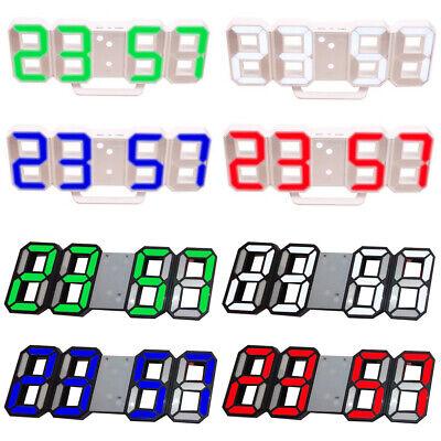 8-Shape 3D LED Modern Digital 12//24Hour Table Desk Alarm Clock Wall Decoration