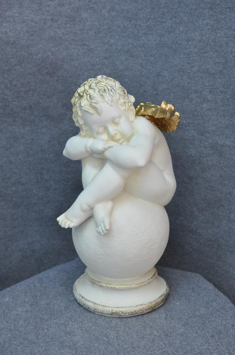 Figur Skulptur Ein großer, schläfriger Engel 61cm  Weiß Design Accessoire PG0631