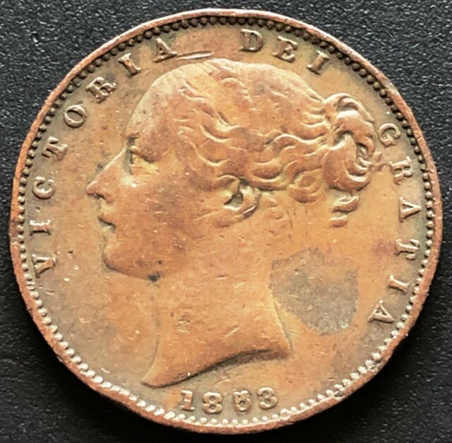 1853 Great Britain 1/2 Penny Coin KM# 726 ***Double 5***