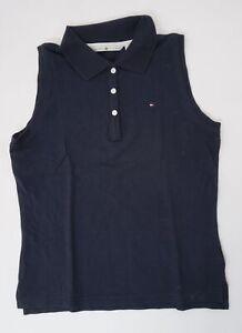 Tommy Hilfiger Poloshirt Polohemd Damen Gr.M blau uni Piquè -S1365