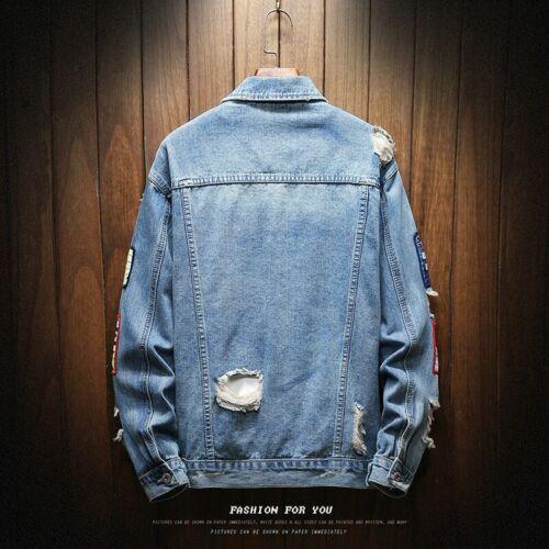 Spring Autumn Mens Jackets Holes Denim Coats Fashion Loose Casual Jean Jacket