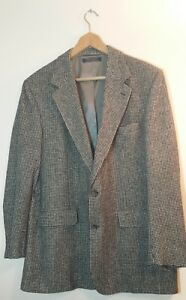Vintage Brooks Brothers 43L 100% Camel Hair Men's Blazer Coat Houndstooth Jacket