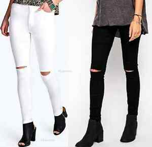 NEW WOMENS LADIES SKINNY RIPPED JEANS DENIM STRETCHY JEGGINGS KNEE ...
