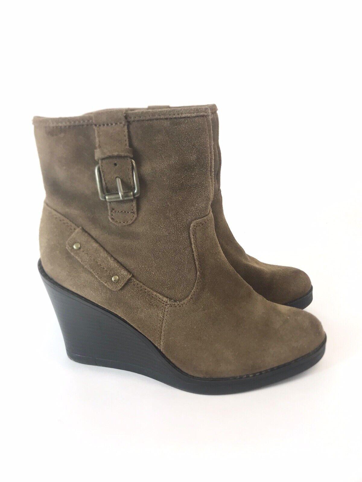 Liz & Co Ladies Brown Suede Leather Ankle Zip Up Wedge Heels Boots US6.5 M UK4.5