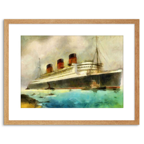 Trazador de líneas marítimas RMS Queen Mary Pintura crucero enmarcado impresión 9x7 pulgadas