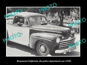 OLD-LARGE-HISTORIC-PHOTO-OF-BEAUMONT-CALIFORNIA-THE-POLICE-DEPARTMENT-CAR-c1946