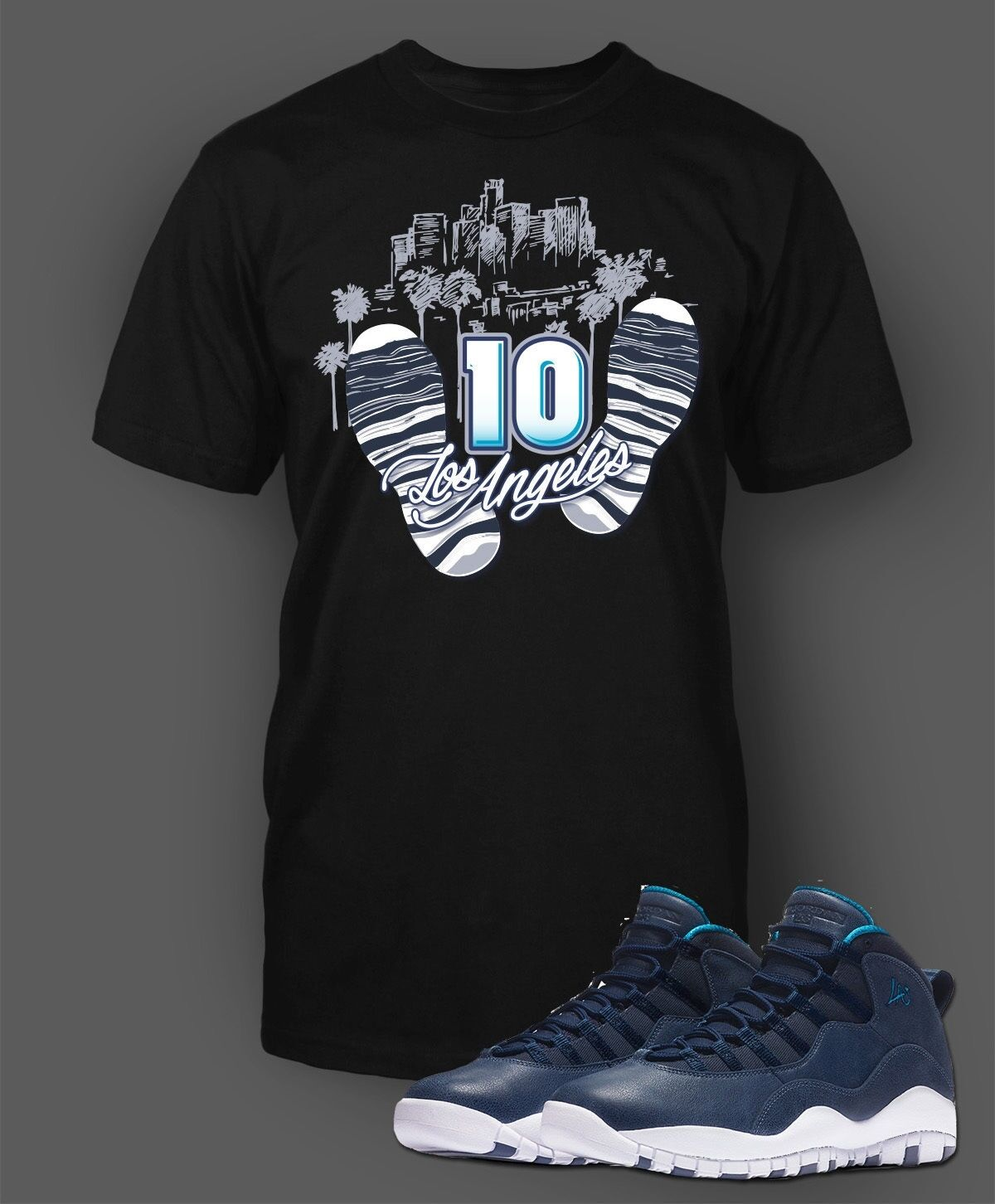 Tee Shirt to Match Air Jordan 10 Los Angeles shoes Men Short Sleeve Pro Club
