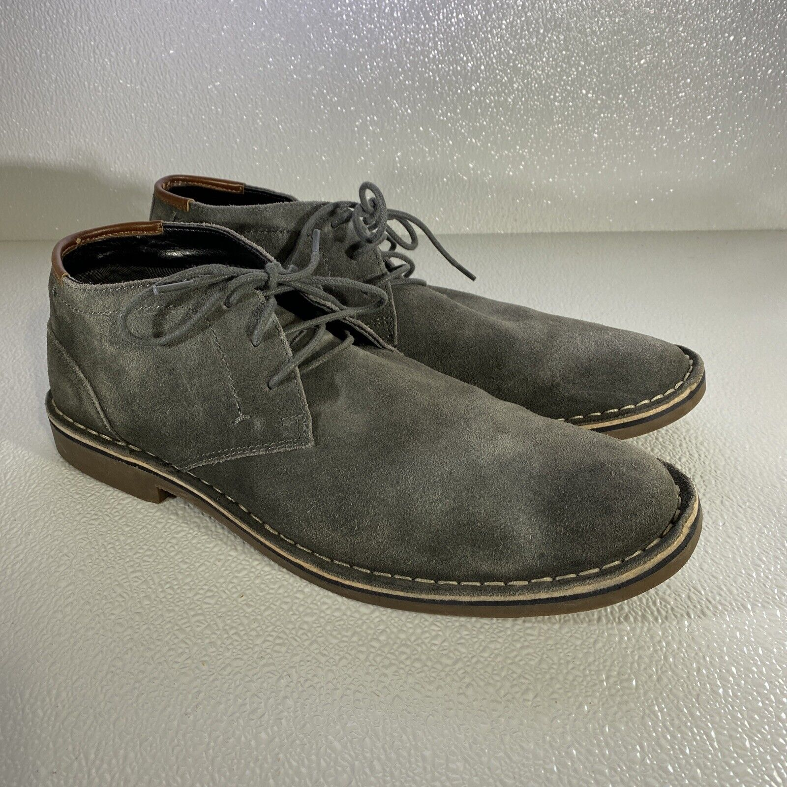 Kenneth Cole Reaction Desert Wind Men's Oxford Shoes Grey Size 13M Textile Lined