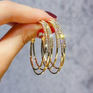 Silver-Rose-Gold-Hoop-Earrings-Fashion-Women-Crystal-Wedding-Party-Jewellery