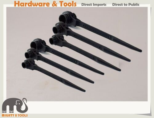 6x Professional Scaffold Double Socket Podger Ratchet Wrench Spanner17x1924x27