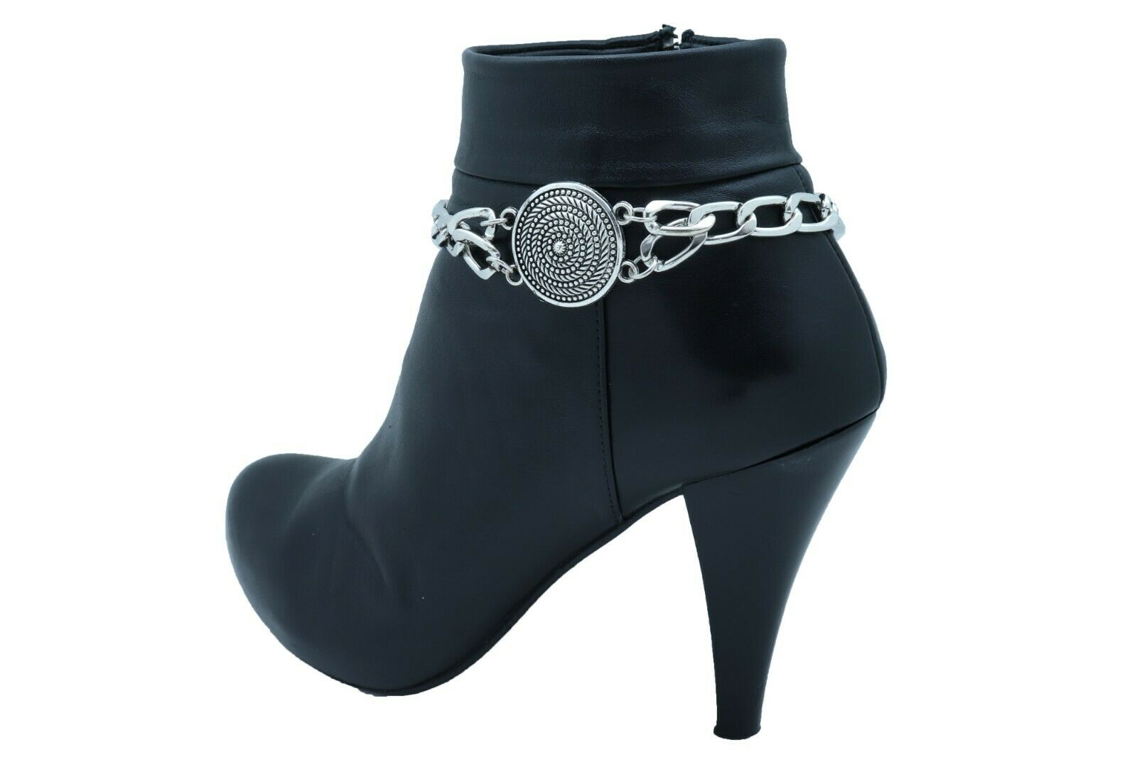 Women Silver Metal Chain Boot Bracelet Shoe Swirl Coin Charm Bling Anklet Strap