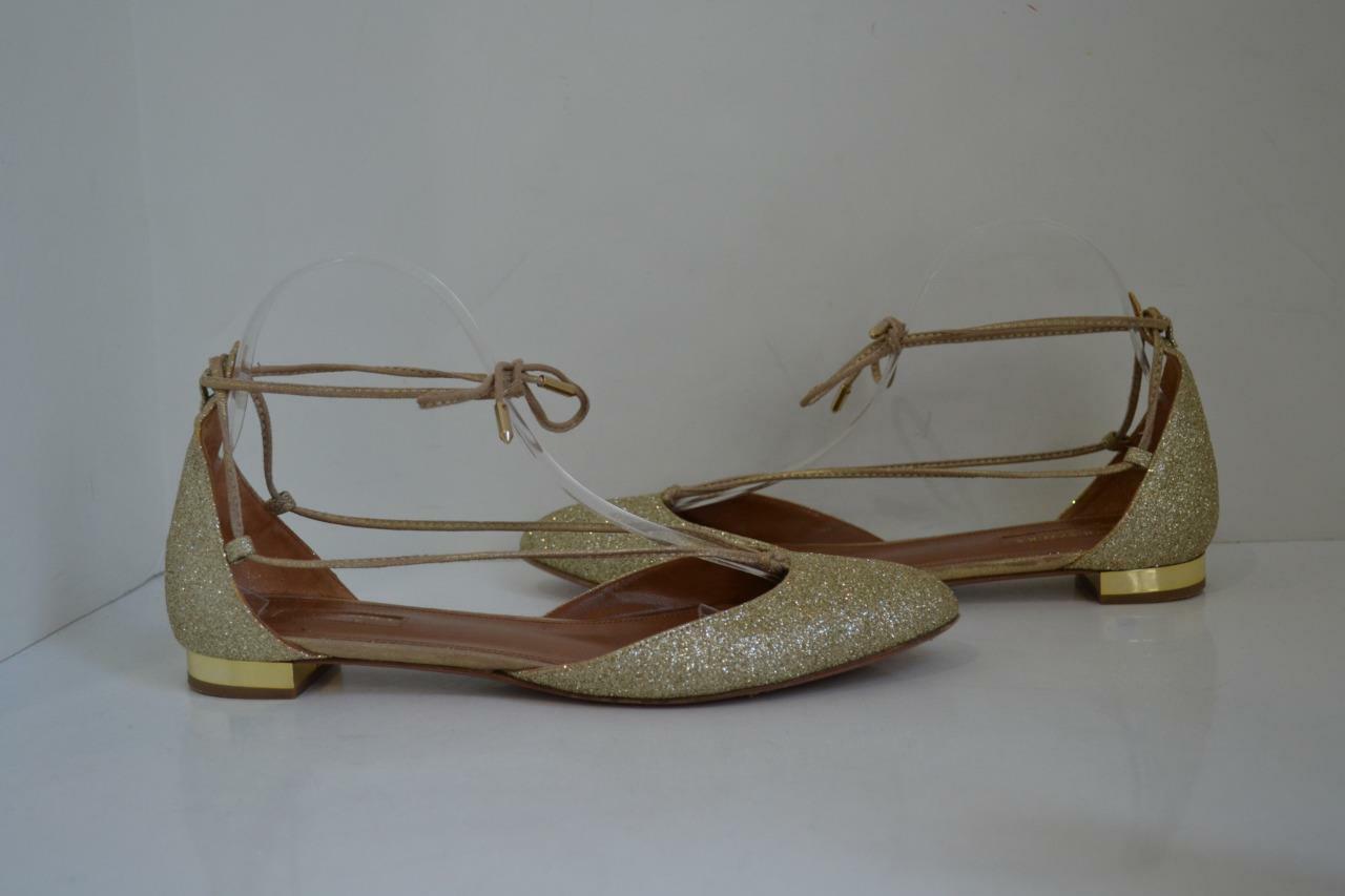 Aquazzura Metallic  Alexa  gold Glitter Strappy Flats shoes Size 40