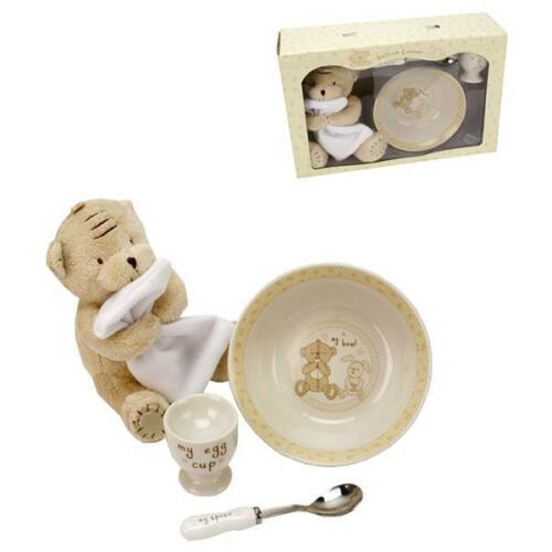 Die süße Geschenkbox Babys erstes Frühstücksset Keramik mit Bärchen und Hase 4