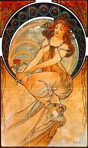 18 X 30 Art Nouveau Alphonse Mucha Céramique Murale Dosseret Bain Carrelage #2420-afficher Le Titre D'origine