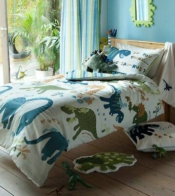 CATHERINE LANSFIELD KIDS DINO DINOSAURS GREEN BEDDING QUILT SET, CURTAINS